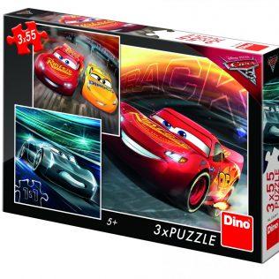 3 פאזלים בקופסה דיסני מכוניות